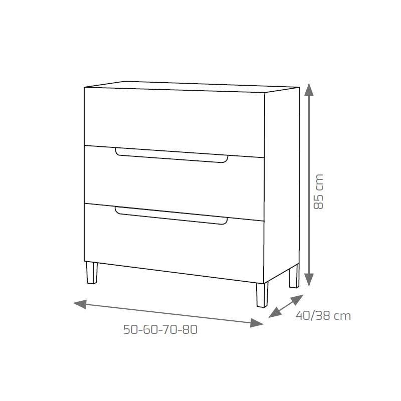 Mueble de ba o cabo fondo reducido 3 cajones for Muebles de bano fondo reducido baratos