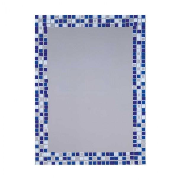 Espejo de Baño Luna Gresite Azul 55x75 cm