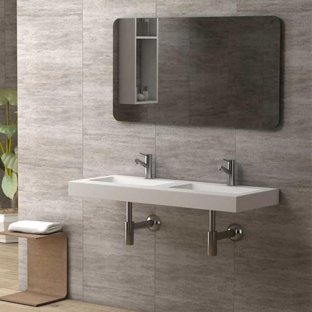 Encimera para ba o con doble lavabo integrado ambar lip - Banos con encimera ...