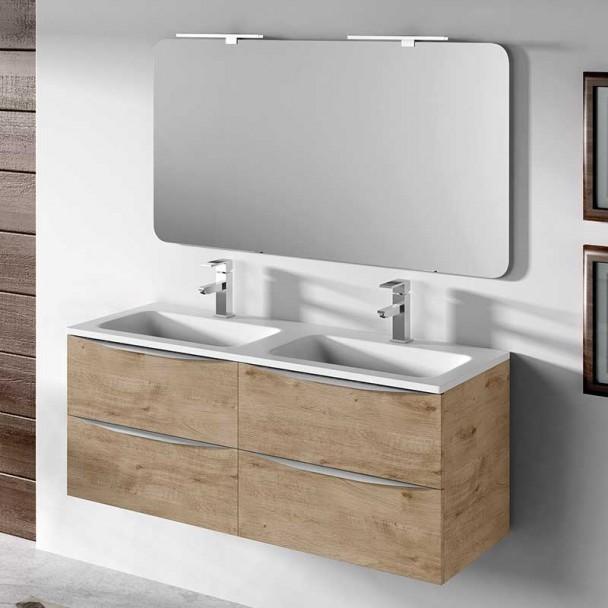 Mueble para ba o 120 cm lavabo doble landes modular for Muebles de lavabo de 70 cm